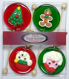 Iced Christmas Gift Sets: 12 Count. Iced Christmas Gift Sets: 12 CountMerry Christmas! Four Assorted Iced X-Mas Lollipops in each gift set. Makes a great gift or enjoy yourself. Our lollipops are made fresh when you order for the highest quality candy. Contains 12 packages of 4 lollipops. 48 lollipops total. FLAVOR: Cherry, Lime SPECIAL PRODUCTION NOTE: All Melville Candy products are made fresh to order. Please allow an additional 3-4 business days of processing for any orders that contain…
