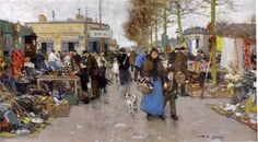"""Luigi Loir (Austrian, 1845-1916) """"Le marché aux puces, St Ouen, Paris"""""""