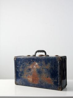 vintage metal luggage / small blue trunk by IronCharlie on Etsy