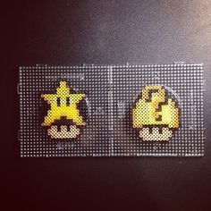 Nintendo mushrooms Star and  Question box perler beads by sajagee