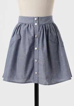 #Ruche                    #Skirt                    #Queen's #Market #Buttoned #Chambray #Skirt         Queen's Market Buttoned Chambray Skirt                                        http://www.seapai.com/product.aspx?PID=496458