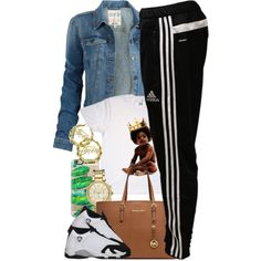 A fashion look from August 2015 featuring Fat Face jackets, adidas activewear pants and MICHAEL Michael Kors bags. Browse and shop related looks.