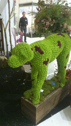 Green Santini Floral Dalmatian dog - Scandia show display Dalmatian Dogs, Dalmatians, Skates, Garden Landscaping, Bespoke, Dinosaur Stuffed Animal, Landscapes, Gardening, Display