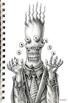 Trippy Drawings, Psychedelic Drawings, Pencil Art Drawings, Cool Drawings, Art Sketches, Arte Horror, Horror Art, Stippling Art, Scary Art