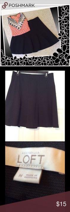 "Black flare Loft skirt Black flared Loft skirt, inside elastic waistband, size medium, 19"" from waist to hem, excellent condition. LOFT Skirts"