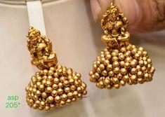 Gold Jewelry Simple, Gold Rings Jewelry, Wedding Jewelry, Jewelery, Gold Jhumka Earrings, Paper Earrings, Gold Temple Jewellery, Jewelry Patterns, Necklace Designs
