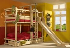 room ideas with a triple bunk bed bunk bed with slide by woodland children love bunk beds Bunk Beds Boys, Wooden Bunk Beds, Cool Bunk Beds, Kid Beds, Loft Beds, Play Beds, Boys Bedroom Ideas With Bunk Beds, Bunk Bed With Slide, Bunk Beds With Stairs