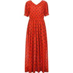 Ksenia Schnaider Smiling Polka Dot Maxi Dress (13,765 EGP) ❤ liked on Polyvore featuring dresses, red, short sleeve dress, red short sleeve dress, maxi dresses, v neck dress and v-neck dresses
