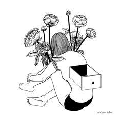 Beautiful Emptiness Art Print by Henn Kim Love Illustration, Black And White Illustration, Ink Illustrations, Henn Kim, Tumblr Art, Photo Instagram, Animation, Blackwork, Art Inspo