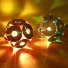 Lampshades From Old Cd's is part of Recycled crafts Lamp - Dodecahedron CD light (Barcelona by Bernat Capellades Exhibited at La Braderie du l'Art, Lille 1998 & International Festival of … Recycled Cd Crafts, Old Cd Crafts, Recycled Lamp, Cd Recycling, Diy Recycle, Cd Diy, Diy With Cds, Diy Crafts With Cds, Art Cd