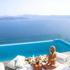 Waking up with breakfast in your private pool and this view | @Astarte_Suites Hotel | #Santorini #beautifulhotels