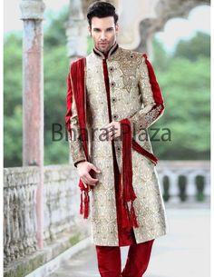 Wedding Look Sherwani Item code : SSJ8209 http://www.bharatplaza.com/b-fash/all-time-hits/men/wedding-look-sherwani-ssj8209.html