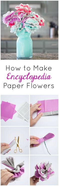 Turn old encyclopedia pages into these gorgeous flowers! A great thrift store project