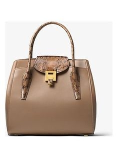 fbe0f879d1e9 Michael Kors Collection Bancroft Large Calf Leather And Snakeskin Satchel  Calf Leather
