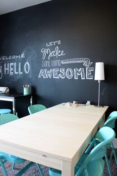 craft room with room for friends - and a chalk board wall - LOVE