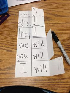 Two words on one side, fold over to make a contraction. to her -school planning- postboard via the Juxtapost bookmarklet. Teaching Grammar, Teaching Language Arts, Classroom Language, Teaching Writing, Teaching Tools, Teaching English, Teaching Resources, Teaching Ideas, English Grammar