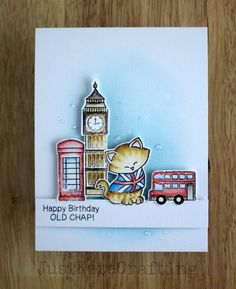 Newtons Nook stamps water coloured with Inktense pencils. Newton Dreams of London stamp set by Newton's Nook Designs #newtonsnook