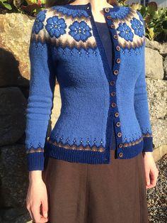 Ravelry: Blåveis pattern by Lene Tøsti Double Knitting, Hand Knitting, Knitting Patterns, Cardigan Design, Hand Knitted Sweaters, Fair Isle Knitting, Yarn Shop, Knitwear, Knit Crochet