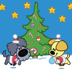 Woezel en Pip om de kerstboom in kerstoutfits. Paper Quilling, Cartoon Kids, Kids Christmas, Clipart, Embroidery Patterns, Cute Animals, Snoopy, Winter, Prints