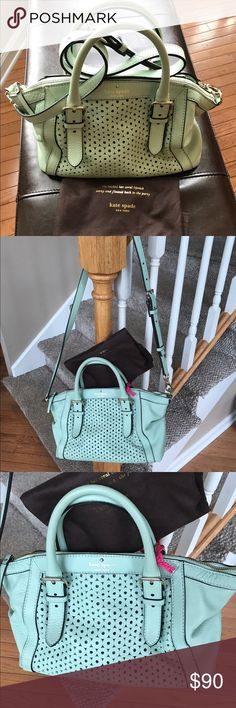 Kate spade leather mint green handbag Satchel with detachable cross body strap. This mint green perforated leather bag is in perfect shape. Zip closure on top. Footed bottom. All leather kate spade Bags Satchels