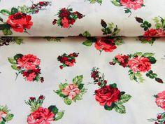 Toller Baumwollstoff im Rosendesign. Die Stoffbreite ist 140 cm, waschbar bei 30°.  Material: 100 % Baumwolle. Sehr schöne, weiche Qualität, ideal für