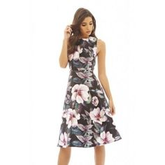 Women's AX Paris Women's Floral Printed Midi Skater Dress ($48) ❤ liked on Polyvore featuring dresses, long flared skirt, long-sleeve midi dresses, floral midi dress, skater dress and long skater skirt