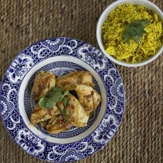 Bar-be-cued lime and garlic chicken with saffron rice