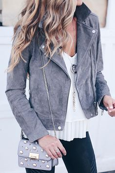 SAVE for later - how to style leather leggings for a night out with a gray suede moto jacket over a white camisole as seen on pinterestingplans