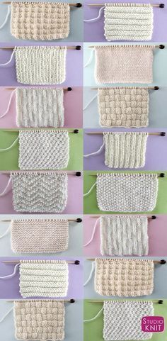 Knitting Tutorial - Knit and Purl Stitch Patterns with Free Patterns and Video Tutorials in the Absolute Beginner Knitting Series by Studio Knit Baby Knitting Patterns, Knitting Charts, Easy Knitting, Knitting For Beginners, Loom Knitting, Knitting Stitches, Embroidery Patterns, Stitch Patterns, Sewing Patterns