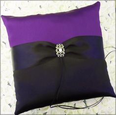 Wedding Ring Pillow Black Purple  Ring Bearer Pillow by All4Brides, $45.00
