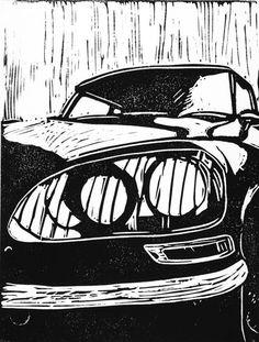 """1968 Citroen DS"" linocut, by Kim Osbourne. http://thisisknockout.wordpress.com/ Tags: Linocut, Cut, Print, Linoleum, Lino, Carving, Block, Woodcut, Helen Elstone, Vehicle, Automobile, French, France, Classic Car."