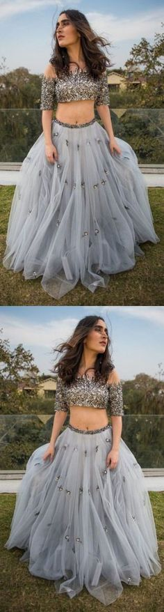 Sexy two piece prom dress,off shoulder prom dress,gray prom gown,tulle formal dress M1326#prom #promdress #promdresses #longpromdress #promgowns #promgown #2018style #newfashion #newstyles #2018newprom #eveninggown #twopiece # offshoulder #graypromdress #tulle