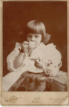 Tea time for a Victorian little girl