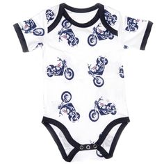 Baby Boys Easy Rider Motocycle Baby Bodysuit- Polkadot Patch Boutique