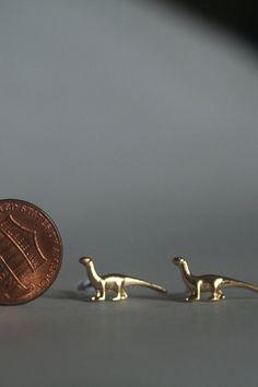 Gold Dinosaur Earrings by GatesofMordor on Etsy