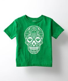 This Kelly Green & White Sugar Skull Tee - Toddler & Girls by Ay Caramba is perfect! #zulilyfinds