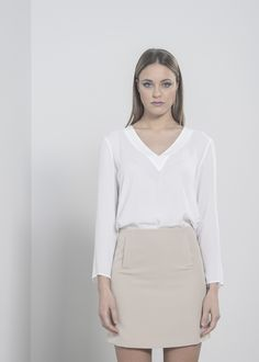 """Soft Beige Pocket Skirt. Material: 88% Polester, 12% Elastane. Model wears UK size S and her height is 5'8"""" - www.froww.com"""