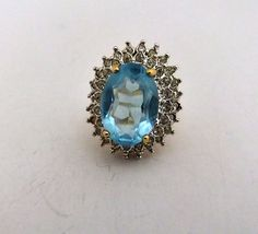 Faux Blue Faceted Crystal Topaz Ring With Clear by ediesbest, $14.95
