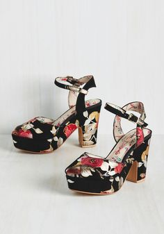 Struts of the Imagination Heel by Miss L Fire - Black, Pink, Silver, Floral, Prom, Party, Cocktail, Girls Night Out, Homecoming, Statement, Best, Platform, Chunky heel, High, Leather, Suede