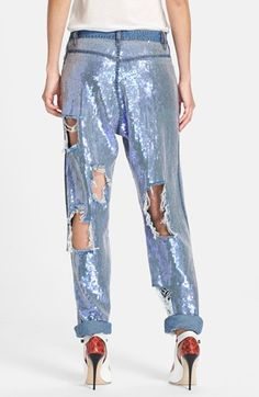 8aae42417c2 Ashish Destroyed Sequin Jeans