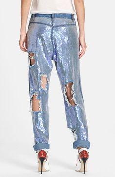 Ashish Destroyed Sequin Jeans | Nordstrom