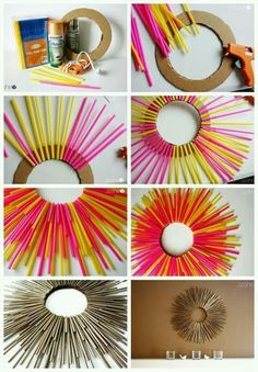Art and craft ideas for home best drinking straw crafts on regarding kids with straws decoration . art and craft ideas for home on walls decoratingDiy Wall Decor Decor Crafts Diy Home Decor Sunburst Mirror Diy Mirror Ramen Diy Deco Rangement Recycled Diy Straw Crafts, Plastic Straw Crafts, Kids Crafts, Rope Crafts, Recycled Crafts, Crafts For Teens, Creative Crafts, Crafts To Sell, Diy And Crafts