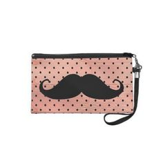 mustache pictures | Funny Mustache On Cute Pink Polka Dot Background Wristlet Purse on ...