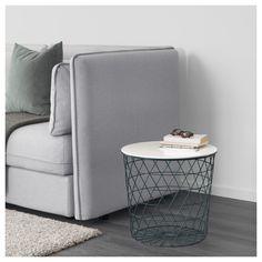 IKEA - KVISTBRO, Table de rangement, turquoise, , Le panier est idéal pour ranger couvertures, oreillers ou journaux, mais il peut également rester vide pour plus de sobriété.Une poignée percée dans le plateau de table facilite l'ouverture et l'accès à l'intérieur du panier.Le design ouvragé de la table permet de la porter et la déplacer facilement.Peut être utilisée comme table basse, console ou table de nuit.