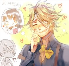 This is kind of funny lol. Look at Zen in the back. Yoosung X Mc, Mystic Messenger Fanart, Saeran, Cute Anime Guys, Anime Chibi, Yandere, Illustrations, Anime Couples, Manga