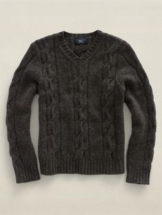 RRL V-Neck Cable-Knit Wool Sweater
