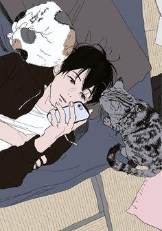 bockli in the BOX Manga Art, Anime Manga, Anime Art, Aesthetic Art, Aesthetic Anime, Pretty Art, Cute Art, Kawaii, Anime Guys