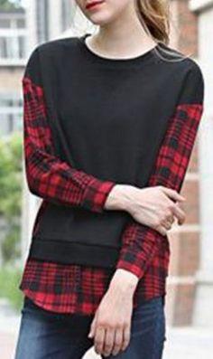 Love the Plaid! Red and Black Plaid Stylish Jewel Neck Long Sleeve Plaid Spliced Women's Sweatshirt #Red #Black #Plaid #Sweatshirt #Fashion