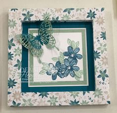 3D Butterfly Frame using Stampin' Up! Blooms & Bliss DSP, Garden In Bloom & Clear Wink Of Stella and  Butterfly Thinlits Dies. Debbie Henderson, Debbie's Designs