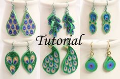 tutorial for paper quilled earrings - peacock inspired designs - by Honey's Quilling